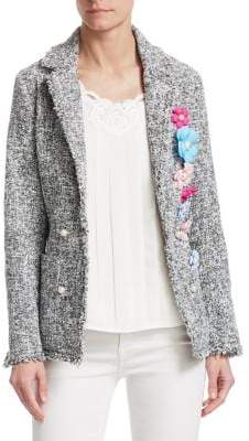 Edward Achour Flower Pin Blazer