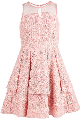 Sequin Hearts Big Girls Illusion-Neck Lace Dress