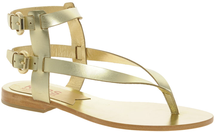 Michael Kors Scorpian Leather Flat Sandal