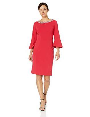 Alex Evenings Women's Short Shift Dress W/Bell Sleeves (Petite and Regular Sizes)