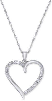 Macy's Diamond Heart Pendant Necklace (1/4 ct. t.w.) in 14k White Gold