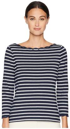 Kate Spade Broome Street Stripe Scallop Knit Top Women's Clothing