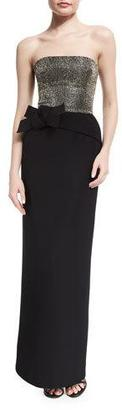 Armani Collezioni Strapless Embellished-Bodice Column Gown, Black $2,295 thestylecure.com