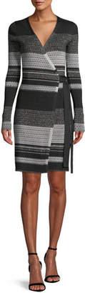 Diane von Furstenberg Long-Sleeve Metallic Striped Wrap Dress