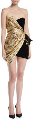 Alexandre Vauthier Strapless Sweetheart-Neck Two-Tone Gathered Mini Cocktail Dress