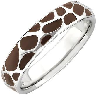 anima Simply Stacks Sterling Brown Epoxy Enamel Animal Print Ring