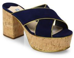 Prada Suede & Cork Crisscross Platform Mules $750 thestylecure.com