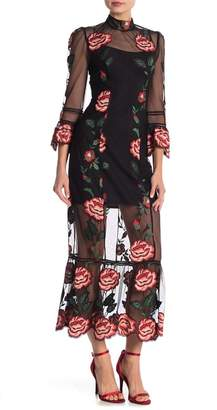 ABS by Allen Schwartz Tatum Embroidered 3\u002F4 Sleeve Maxi Dress
