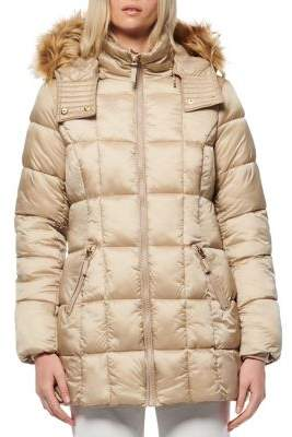 Andrew Marc Riverdale Faux Fur Hooded Quilted Puffer Coat