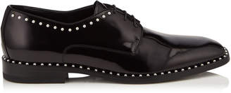 Jimmy Choo STEFAN Black Shiny Calf Leather Lace Up Shoes with Pearl Trim