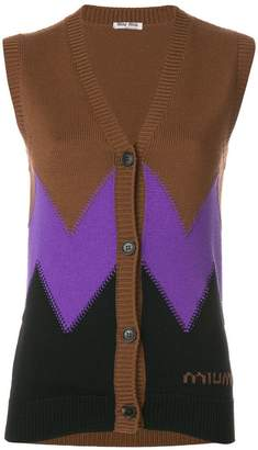 Miu Miu colour block sleeveless cardigan