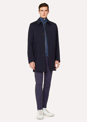 Paul Smith Men's Navy Loro Piana Storm System Wool Mac With Detachable Liner