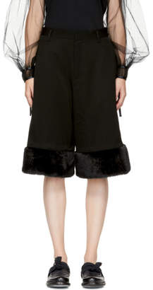 Noir Kei Ninomiya Black Faux-Fur Cuff Trousers