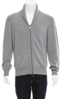 Canali Leather-Trim Wool Sweater