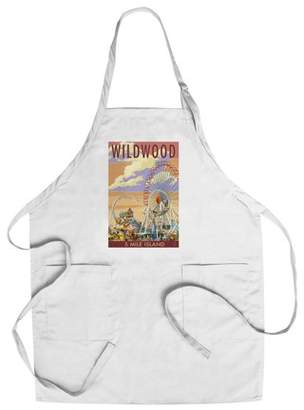 Wildwood, New Jersey - Pier & Sunset - Lantern Press Poster (Cotton/Polyester Chef's Apron)