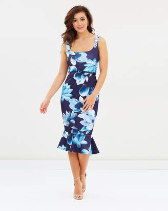 Lipsy Square Neck Belted Body-Con Floral Dress