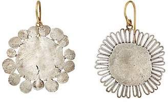 Judy Geib Women's Mismatched Flower-Shaped Earrings - Silver