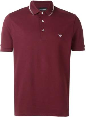 Emporio Armani embroidered logo polo T-shirt