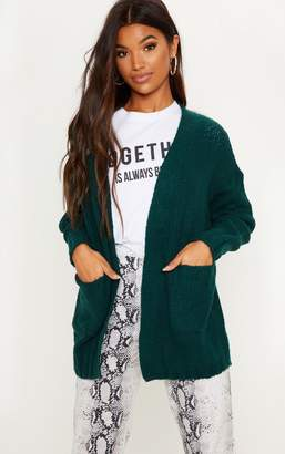 PrettyLittleThing Bottle Green Knitted Cardigan With Pockets