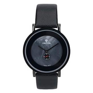 Croton Men's 'Ultra Thin' Quartz Stainless Steel and Leather Watch
