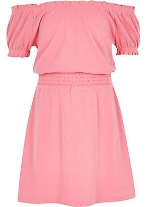 River Island Girls pink shirred bardot dress