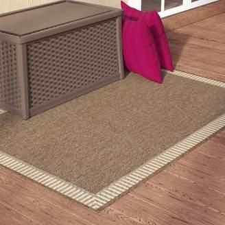 Charlton Home Westlund Wicker Stitch Cocoa/Natural Indoor/Outdoor Area Rug Rug