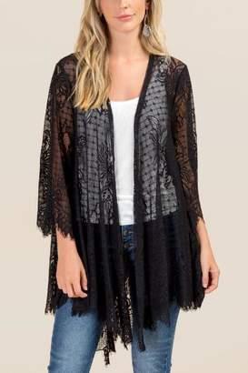 Ami Mi Carleigh Scalloped Lace Kimono - Black