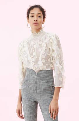 Rebecca Taylor Silk & Embroidered Ruffle Top