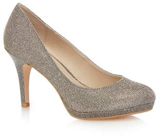 Debut Dark Grey Glitter 'Dobbie' High Stiletto Heel Court Shoes