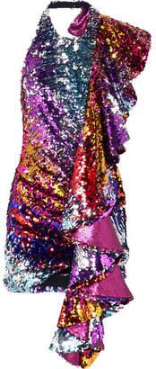 Halpern Ruffled Sequined Tulle Halterneck Mini Dress - Purple