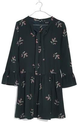 Madewell Print Silk Tie Neck Dress