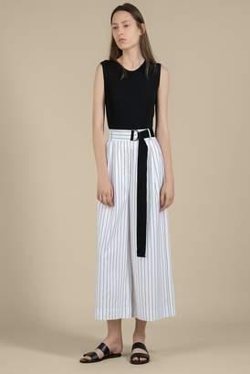 Genuine People Belted Striped Linen Viscose Crop Pants