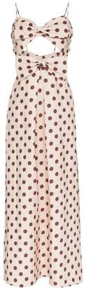 Zimmermann corsage polka dot bow linen dress