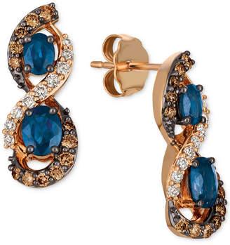 LeVian Le Vian Chocolatier Blueberry Sapphire (1-1/8 ct. t.w.) & Diamond (5/8 ct. t.w.) Drop Earrings in 14k Rose Gold