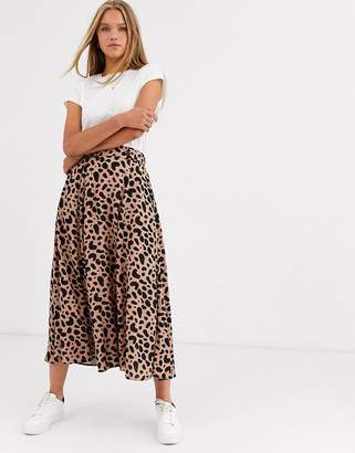 Asos Design DESIGN floaty midi skirt with button waist detail in leopard print