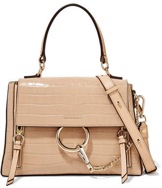 Chloé Faye Day Small Croc-effect Leather Shoulder Bag