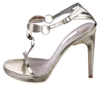 Calvin Klein Collection Patent Leather Ankle Strap Sandals