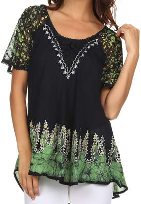 d7209aa1a80e5 Sakkas 786 - Cora Relaxed Fit Batik Design Embroidery Cap Sleeves Blouse Top  - Navy