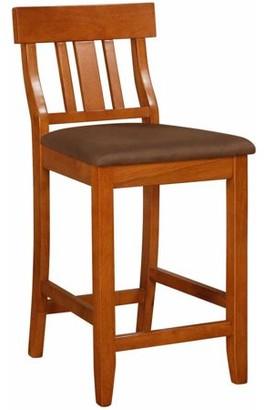 Linon Torino Collection Slat Back Bar Stool, Brown, 30 inch Seat Height