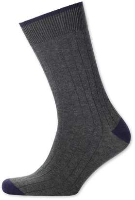 Charles Tyrwhitt Charcoal Cotton Rib Socks Size Large