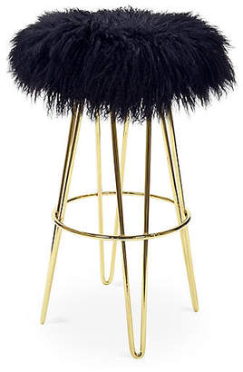 Le-Coterie Curly Hairpin Barstool - Brass/Black