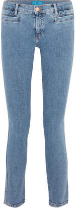 Paris Cropped Embroidered Low-rise Skinny Jeans - Blue
