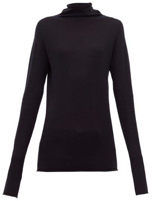 Raey Sheer Raw Edge Funnel Neck Cashmere Sweater - Womens - Navy