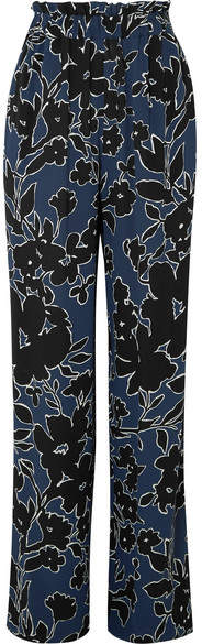 Michael Kors Collection - Floral-print Silk-georgette Wide-leg Pants - Blue