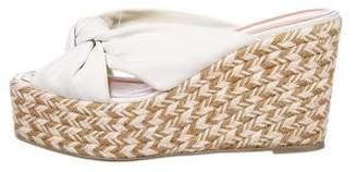 Sergio Rossi Leather Platform Wedge Sandals