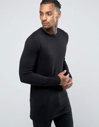 Asos DESIGN Longline Crew Neck Sweater in Black Cotton