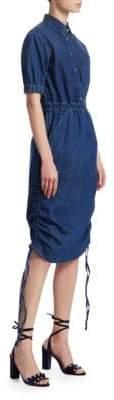 Stella McCartney Ruched Drawstring Midi Denim Dress