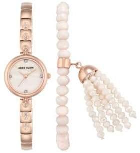 Anne Klein AK-2854RGST Analog Bracelet Watch with Beaded bracelet