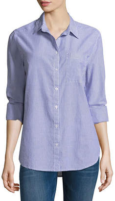 Arizona Loose Fit Long Sleeve Button-Front Shirt-Juniors