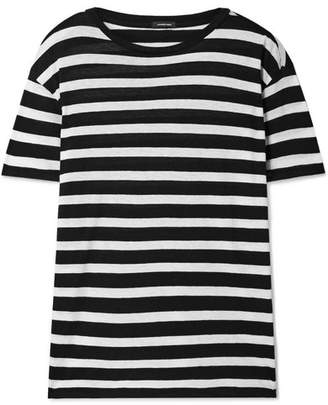 R 13 Boy Striped Cotton And Cashmere-blend T-shirt - Black